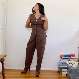 VINTAGE CHOCOLATE LINEN BLEND PANT SUIT USA MADE